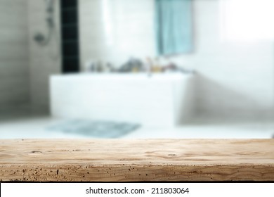 wooden desk and bathroom
