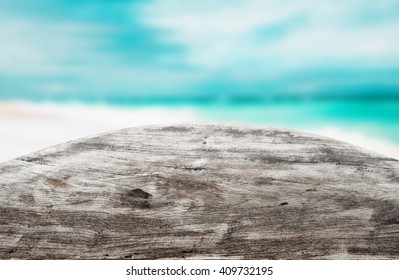 Wooden desk. Empty round table on blue background