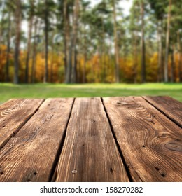 wooden desk and forest