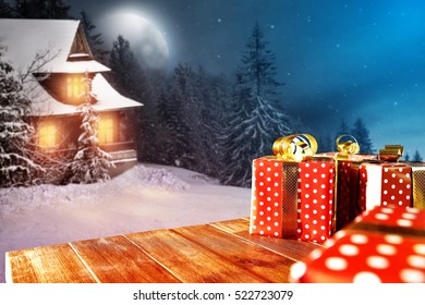 Wooden desk with free space for your decoration and xmas magic night