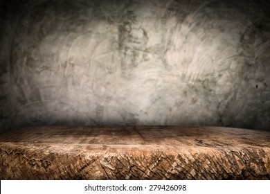 Wooden desk platform and polished concrete surface background