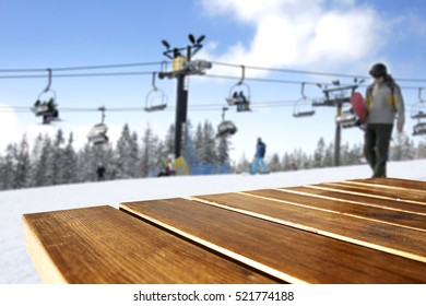 wooden desk space and ski time
