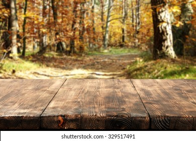 wooden desk top autumn and free space for you