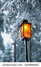 wooden desk top and snow and lamp
