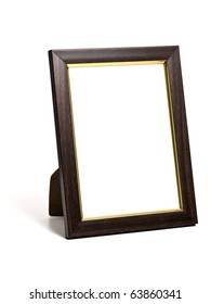 wooden desktop picture frame isolated on white