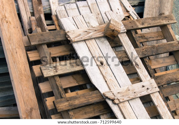 Wooden Destroyed Pallet Abandoned Against Wall Stock Photo Edit Now