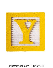 Wooden detailed alphabet block letter Y with a yellow boarder and horizontal lines isolated on white