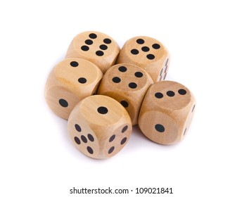 Wooden dice for board game isolated on white background