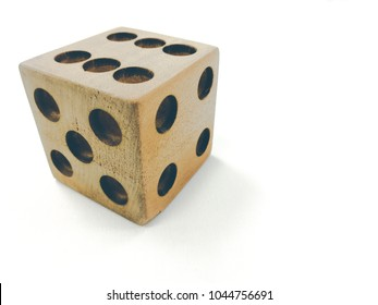 Wooden dice put on white background