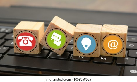 Wooden Dices with contact us icons