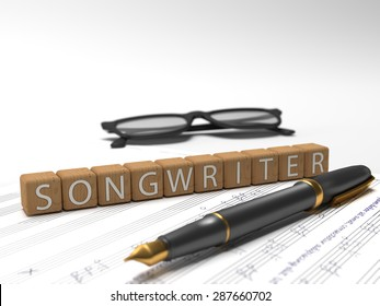 Wooden dices containing the word songwriter, a book, glasses and a fountain pen. 3D Illustration