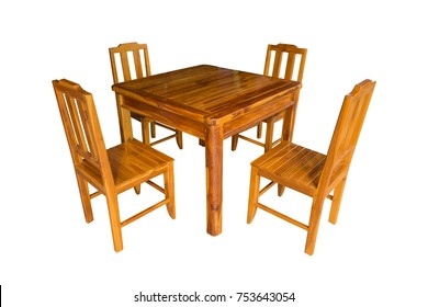 Wooden dining table set isolated on white background, work with clipping path.