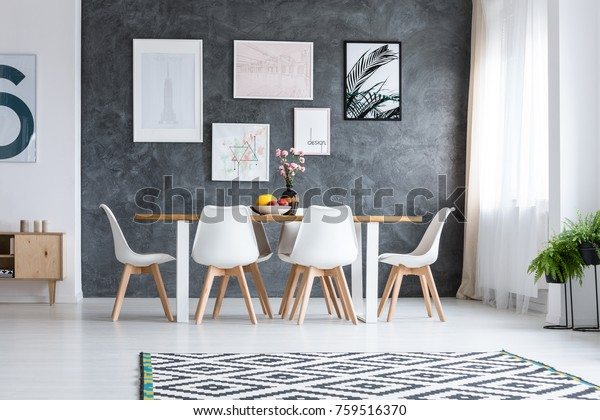 Wooden Dining Table White Design Chairs Stock Photo Edit Now 759516370
