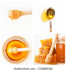 Wooden dipper and glass bowl with honey, spoon, jar and honeycomb multiple shot collage. Isolated objects on white background. Organic food and healthy nutrition concept