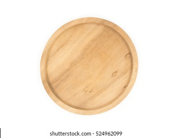 Wooden dish on white background