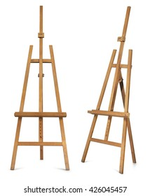 Wooden display easel front and side view isolated on a white background.