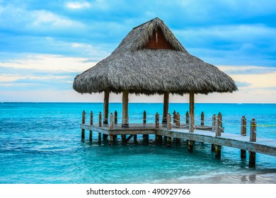 A wooden dock on the Caribbean Sea in Punta Cana , Dominican Republic
