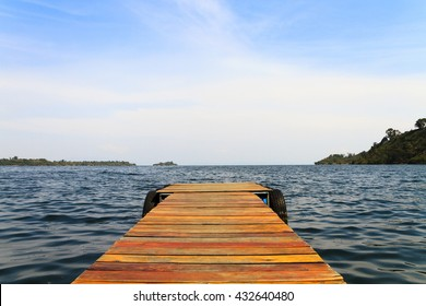 Wooden dock on a lake