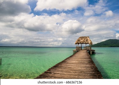 Wooden dock on the right, at Guatemala.