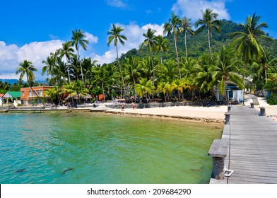 Wooden dock on tropical island