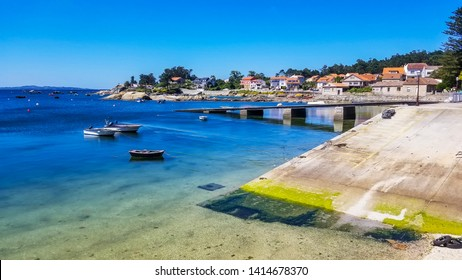Wooden dock and ramp on Campo fishing harbor in Arousa Island