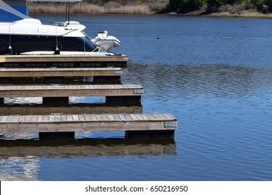 Wooden docks in the bay
