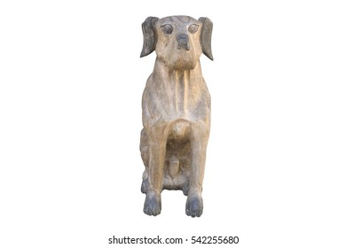 wooden dog statues isolate on  white backgroud ,clipping path