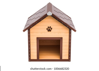 Wooden doghouse front view, 3D rendering isolated on white background