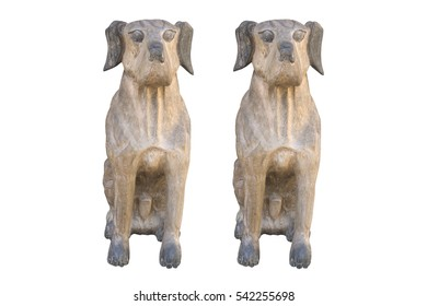 wooden dogs statues isolate on  white backgroud