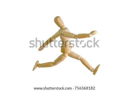 wooden doll running position isolated on stock photo edit now