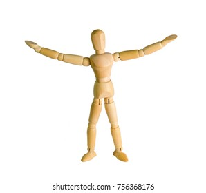 wooden doll stands on a background close-up