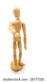 Wooden doll will shake your hand on white