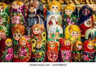 wooden dolls in Prague, Nesting souvenirs.  Russian matryoshka