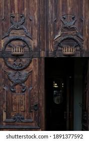 Wooden door of Basilica of St Catherine of Alexandria in Saint-Petersburg, Russia, catholic temple.