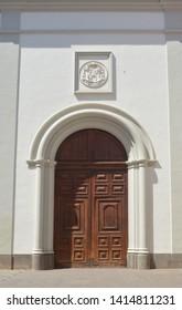 wooden door to cathedral.la laguna. tenerife