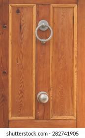 Wooden door details and closeup