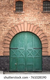 Wooden door entrance at old house at Liverpool, United Kingdom.