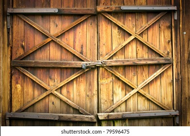 Wooden door with four crosses