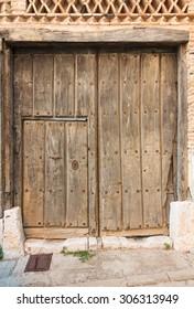 wooden door garage access