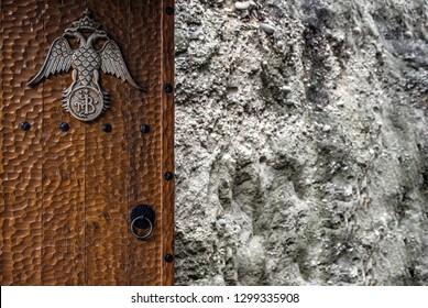 wooden door, in a Greek Orthodox monastery, Meteora, Greece