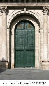 Wooden door of Iglesia Penitencial de la Vera Cruz. Old church in Valladolid, Spain.