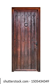 A wooden door made of vertical boards isolated on white background