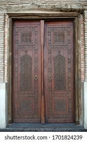 Wooden door. Mausoleum of Khoja Ahmed Yasawi in Turkistan. Kazakhstan. 27 May, 2016