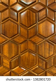 Wooden door of a mosque with Islamic arabesque