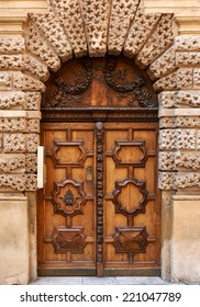 Wooden door from the old part of Aix en Provence, France