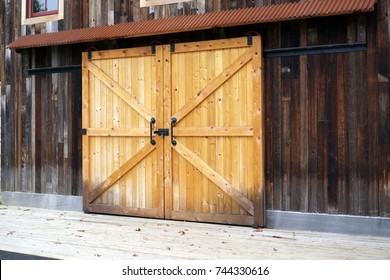 Wooden door on sliding rails