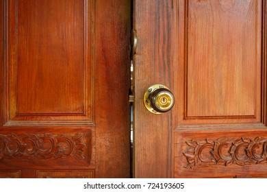The wooden door open
