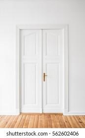 wooden door in renovated flat