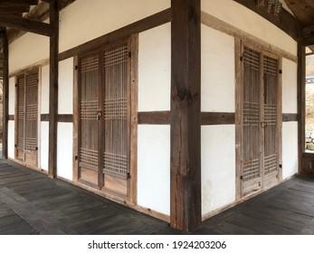 The wooden door of the traditional Korean house 'Hanok'.