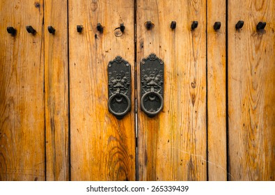 wooden door, traditional  korean style.